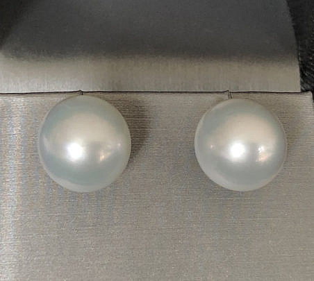 41446 Pair 13mm White South Sea Pearl Earrings A IMG_6790