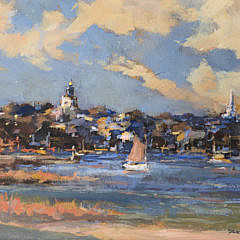"David Lazarus Acrylic on Board ""Nantucket Town"""