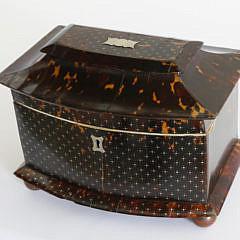 Fine British Regency Silver Piqué Work Inlaid Tortoiseshell Tea Caddy, circa 1820