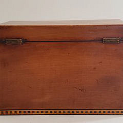 English Tiger Maple Shell Inlaid Double Compartment Tea Caddy, 19th Century