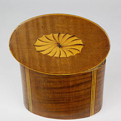 Oval Inlaid Tea Caddy, early 19th Century