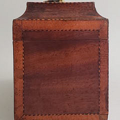 Chippendale Inlaid Triple Compartment Tea Caddy, 19th Century