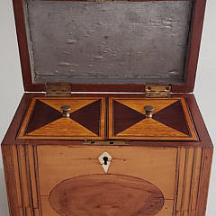 English Satinwood Fan Inlaid Single Compartment Tea Caddy, 19th Century