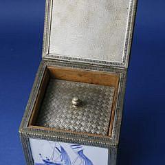 Dutch Tile Tea Caddy, 19th Century