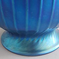 Lundberg Studios Blue Art Glass Vase, Davenport, California