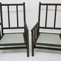 Pair of Antique English Upholstered Bobbin Turned Armchairs