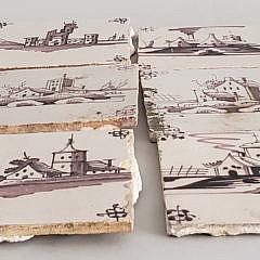 Nine Dutch Paint Decorated Ceramic Tiles, 19th Century