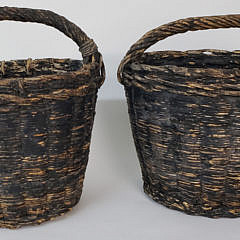 Pair of Antique Black Painted Well Water Bucket Baskets