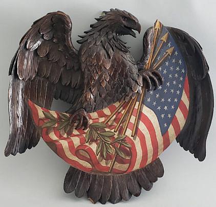 167-4621 Eagle Flag Carving A