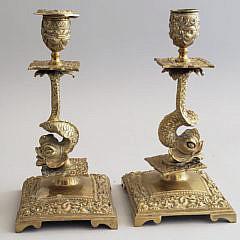 Pair of Antique Brass Sea Serpent Candlesticks