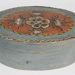 Scandinavian Decorated Oval Band Box, 19th Century