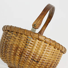 Diminutive Round Open Swing Handle Nantucket Basket, circa 1900