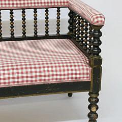 English Upholstered Bobbin Turned Window Bench, 19th Century