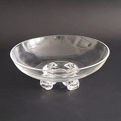 John Dreves Signed Steuben Clear Crystal Scroll Footed Bowl