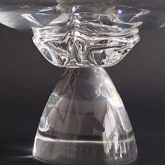 Signed Steuben Clear Crystal Serving Bowl and Compote
