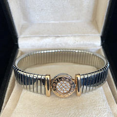 "Bvlgari ""Tubogas"" Diamond Cuff Bracelet in Steel and 18k Pink Gold"
