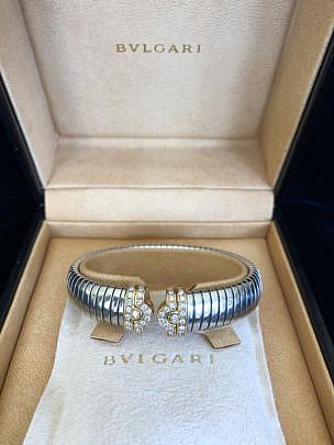 59-4419 Bvlgari Steel Gold Tubogas Cuff Bracelet A IMG_6891