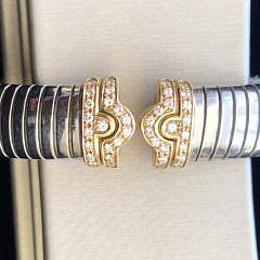 "Bvlgari ""Tubogas"" Diamond Cuff Bracelet in Steel and 18k Gold"