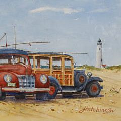 """John Hutchinson Watercolor on Paper, """"The Good Old Days, Surfcasting at Great Point"""""""
