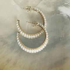 6-4960 Fresh Water Pearl Hoop Earrings D IMG_6757