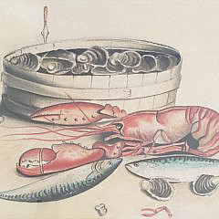 """Antique Still Life Watercolor on Paper, """"Lobster Clambake"""""""