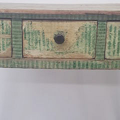 English Paint Decorated Three Drawer Writing Table, 19th Century