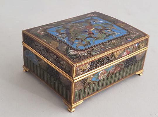 7-4135 Square Cloisonne Box A