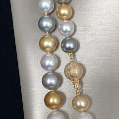 Fine Multicolor South Sea Pearl Necklace, 14k Yellow Gold Clasp