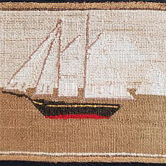 English Woolwork Needlepoint Picturing a Two Mast Schooner