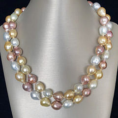 9-4960 South Sea and Pink Fresh Water Baroque Pearl Necklace A IMG_6720
