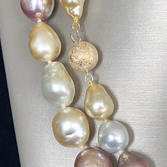 Fine South Sea Pearl and Pink Freshwater Baroque Pearl Necklace, 14k Yellow Gold Clasp
