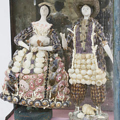 Two French Coquille Figures of Man and Woman, 18th Century