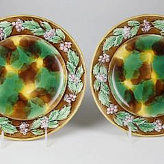 """Pair of English Majolica """"Holly"""" Pattern Cachepots with Stands"""