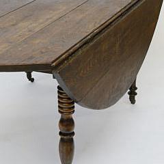 English Elm Drop Leaf Dining Table, 19th Century