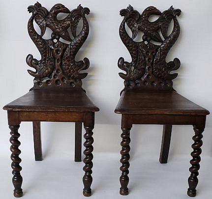 51-4901 Pair Hall Chairs A