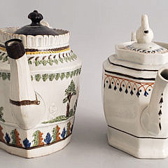 Two French Soft-paste Porcelain Covered Tea Pots, 19th Century