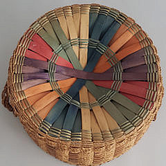 Vintage New Hampshire Splint and Twine Woven Basket