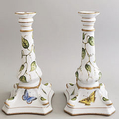 Pair of Anna Weatherley Hungarian Hand Painted Porcelain Candlesticks
