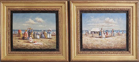7-4954 Pair Beach Oil Paintings A
