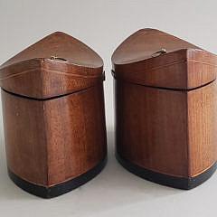 Pair of 19th Century English Line Inlaid Tea Caddies