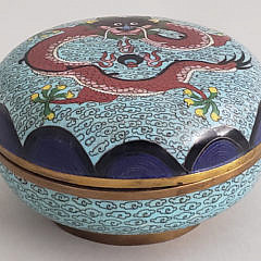 Antique Chinese Cloisonné Dragon Designed Covered Box