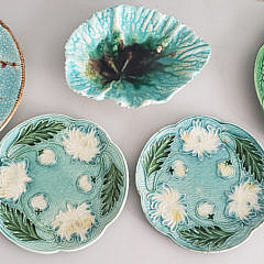 Group of 8 Assorted Antique Majolica Plates