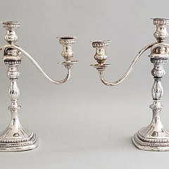 Pair of Sterling Silver Three Light Candleabras