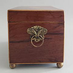 English George III Rosewood Inlaid Tea Caddy, 19th Century