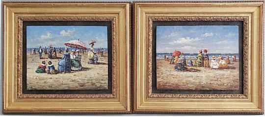 30-4954 Pair Beach Oil Paintings A