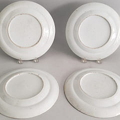 Set of Four Chinese Rose Medallion Plates, 19th Century