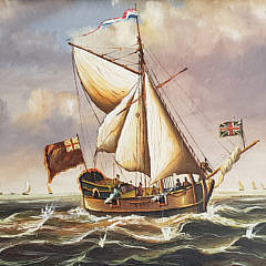 Miniature English Oil on Board of a Gunboat, Contemporary