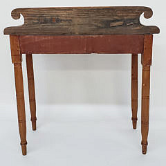 American Sheraton Pine One Drawer Side Table, 19th Century