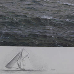 """Richard Loud Limited Edition Offset Lithograph """"Babboon Preparing to Round the Mark off Marblehead"""""""
