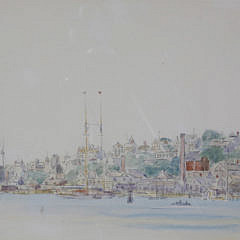 """Reynolds Beal Mixed Media Watercolor and Pencil on Paper """"Panoramic View Town of Nantucket"""""""